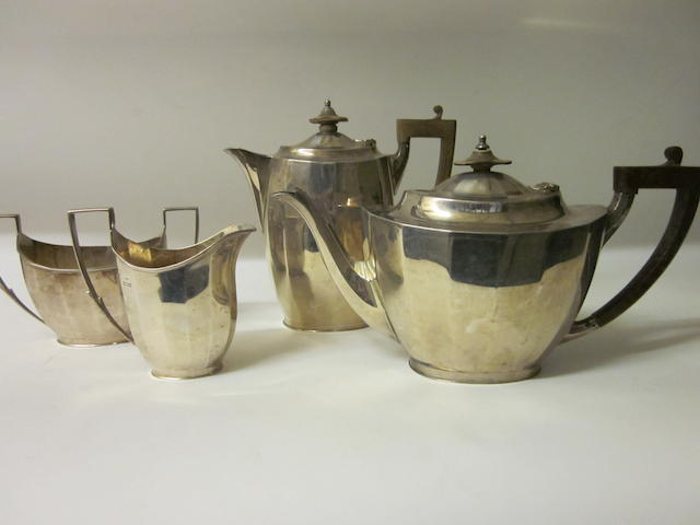 A silver four piece matching tea service, by Mappin and Webb,  Sheffield 1926/27  (4)