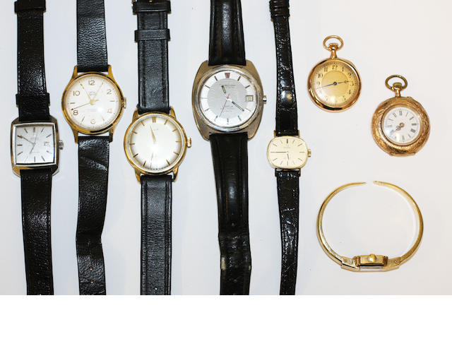 A collection of fob watches and wristwatches,