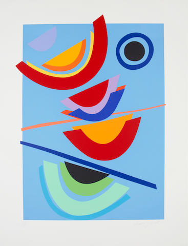 Sir Terry Frost R.A. (British, 1915-2003) Blue Circle Screenprint in colours, 2002, on Arches, signed and numbered 27/125 in pencil, published by CCA Galleries, Tilford, printed at Coriander Studio, London, 911 x 705mm (35 3/4 x 27 3/4in)(SH)(unframed)