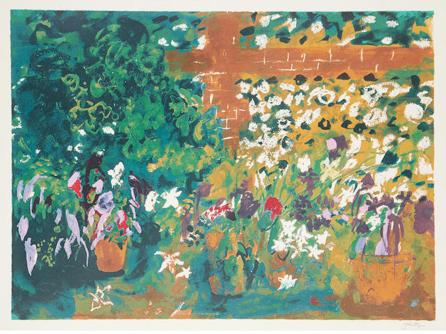 John Piper CH (British, 1903-1992) Terrace with Red Pots screenprint, 1987, signed in pencil, an artist's proof aside from the numbered edition of 70, printed by Kelpra Studio, London, published by Marlborough Fine Art, 489 x 668mm (19 1/4 x 26 1/2in)(I)