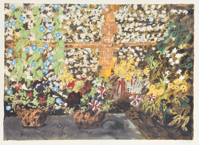 John Piper CH (British, 1903-1992) Terrace with Morning Glories screenprint, 1987, signed in pencil, an artist's proof aside from the numbered edition of 70, printed by Kelpra Studios, London, published by Marlborough Fine Art, 490 x 677mm (19 1/4 x 26 3/4in)(I)