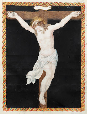 ILLUMINATED MANUSCRIPT LEAF The Crucifixion, depicting Christ on the cross, against a black background within a decorative gilt frame