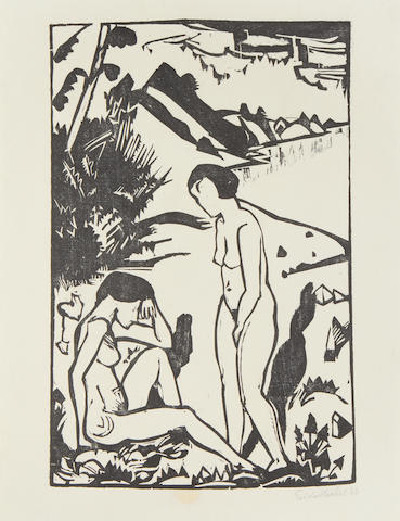 Erich Heckel (German, 1883-1970) Am Strand Woodcut, 1923, the third state, on laid, signed and dated in pencil, from the edition of 300, published by Marées-Gesellschaft