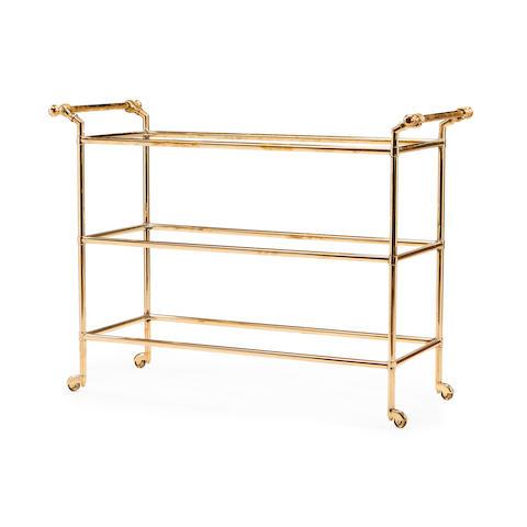 A brass three-tier trolley