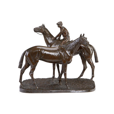 Leon Bureau, French (1866-1906) A large bronze equestrian group of two racehorses