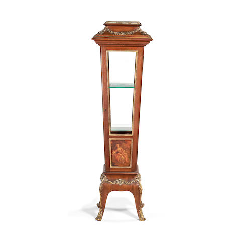A small French late 19th century brass mounted mahogany and Vernis Martin vitrine in the late Louis XV style