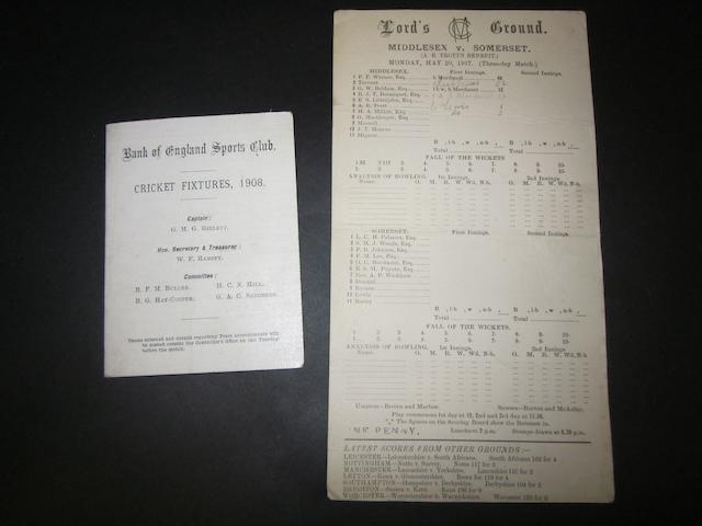 1907 and 1908 cricket fixture list and scorecard