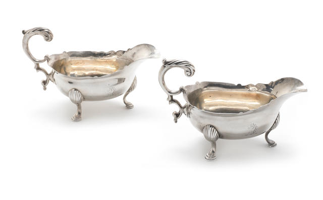 A pair of George II silver sauceboats maker's mark rubbed ? R London 1754  (2)