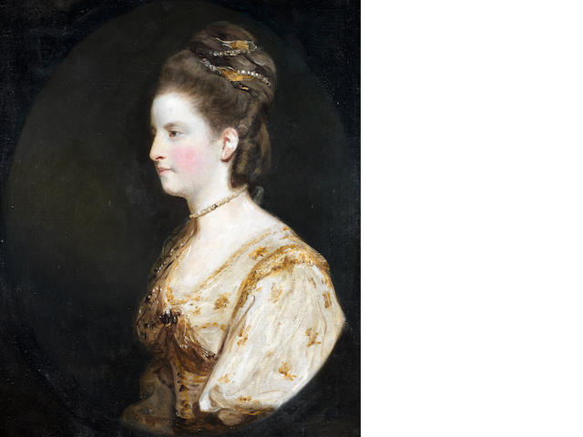 Sir Joshua Reynolds (Plympton 1723-1792 London) Portrait of Mrs Thomas Wodehouse, half-length, in a white dress embroidered with yellow flowers,