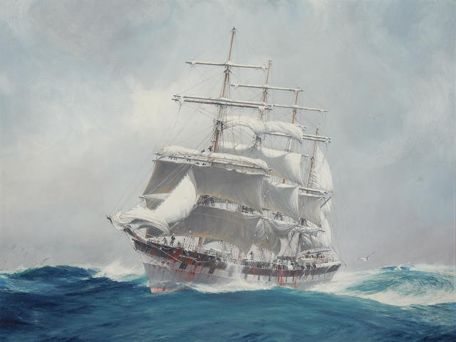 Jack Spurling (British, 1871-1933) The four-masted wool clipper Port Jackson cutting through a heavy swell under reefed topsails