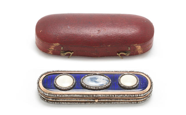 A George III gold, enamelled, cut-steel and Jasperware mounted toothpick case apparently unmarked