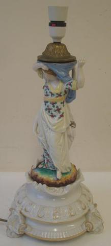 A 19th Century plaue porcelain lamp base, modelled with two figures on scroll base, 40cm.