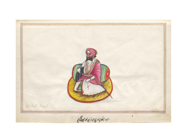 INDIA - COMPANY SCHOOL WATERCOLOURS An album of 60 Company School watercolours, including Sikh rulers, views and trades, [nineteenth century]