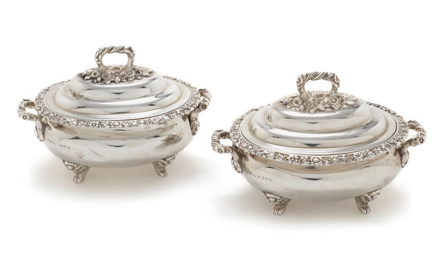 A pair of George IV Scottish silver two-handled sauce tureens and covers marks for Marshall & Son and another mark GP, possibly for George Paton, Edinburgh 1829