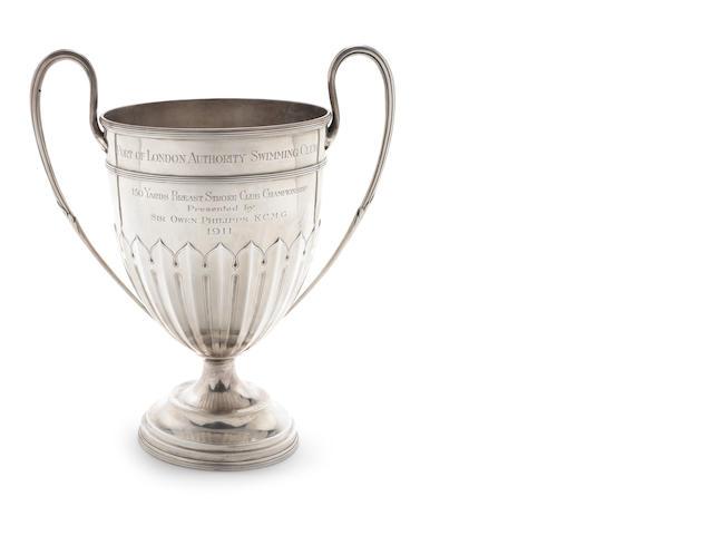 A SILVER TROPHY CUP BIRMINGHAM 1908