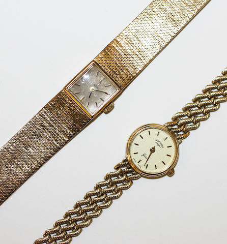 A 9ct gold lady's Omega wristwatch and a 9ct gold lady's Rotary wristwatch