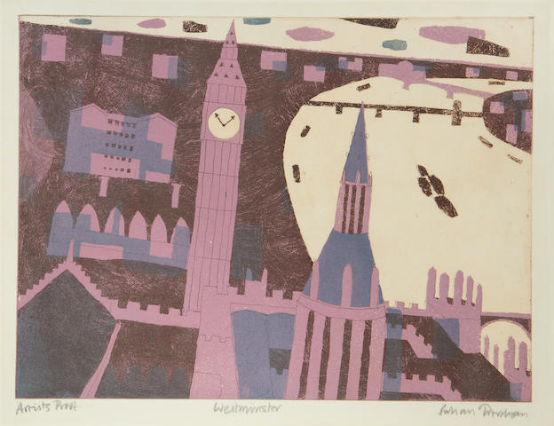 Julian Trevelyan R.A. (British, 1910-1988) Westminster Etching with aquatint printed in colours, 1969, on wove, signed, titled and inscribed 'Artists Proof' in pencil, an artist's proof aside from the numbered edition of 75, published by London Graphics, printed by Geoffrey Beardsall and Dorothea Wight, 350 x 478mm (13 3/4 x 18 3/4in)(PL)