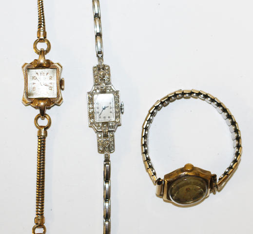 A lady's diamond set cocktail watch, (3)
