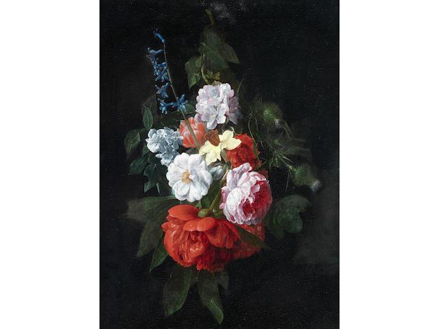 Nicolaes van Veerendael (Antwerp 1640-1691) A swag of roses, thistles, narcissi and other flowers