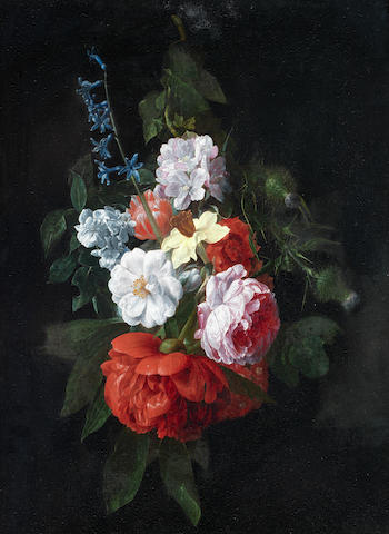 Nicolaes van Veerendael (Antwerp 1640-1691) A swag of roses, thistles, narcissi and other flowers