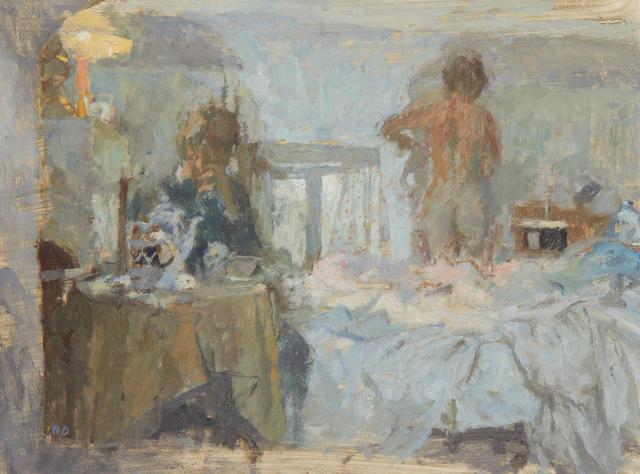 Bernard Dunstan (British, born 1920) Cottage Bedroom, Easter