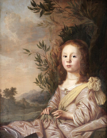 Pieter Nason (Amsterdam 1612-1688 The Hague) Portrait of a young girl, three-quarter-length, in a pi
