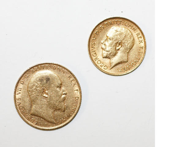 A sovereign and a half sovereign, the Edward VII sovereign dated 1909, the George V half sovereign dated 1912.