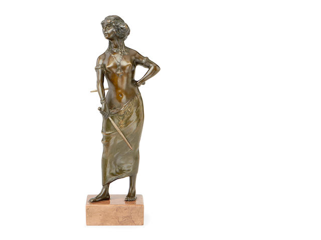 A late 19th century Art Nouveau style bronze figure of Salome