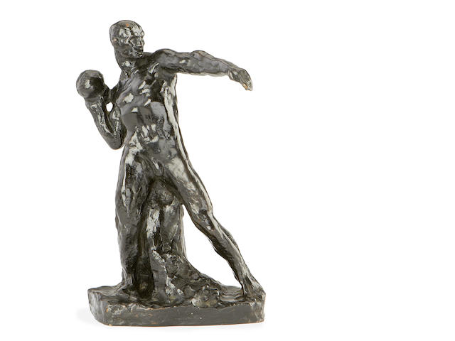 An early 20th century bronze figure of a shot-putter