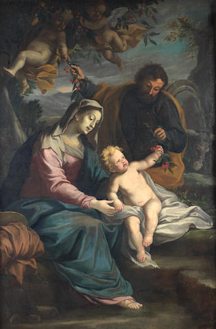 Circle of Ippolito Scarsella, called Scarsellino (Ferrara(?) 1550-1620) The rest from the Flight into Egypt