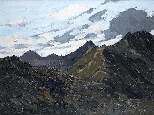Sir Kyffin Williams R.A. (British, 1918-2006) Yr Aran 95.3 x 125.5 cm. (37 1/2 x 49 3/8 in.)