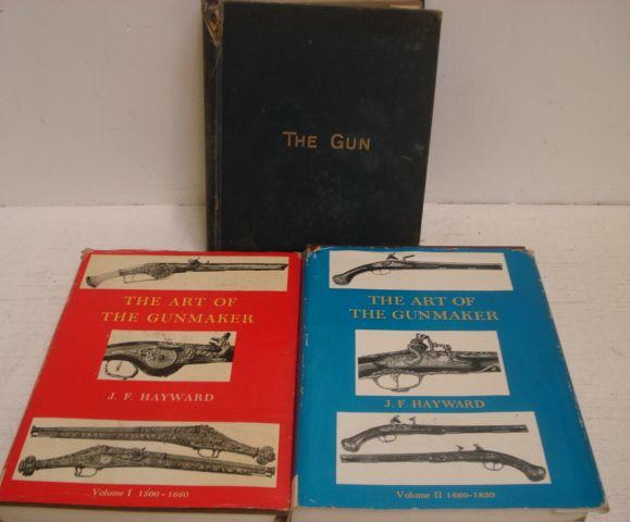 J F Hayward:  The Art Of the Gunmaker, 2 volumes, 1st editions, 1962 & 1963, dust jackets, W W Greener: The Gun And Its Development, 2nd edition, and a collection of fourteen other volumes on guns, weapons, medals and battles and one other. (18)