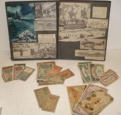 A collection of Chinese, Honk Kong, Japanese, India, Ceylon, Egypt and Malaya bank notes, together with a Second World War scrapbook containing a collection of aviation postcards, cigarette cards and newspaper cuttings.