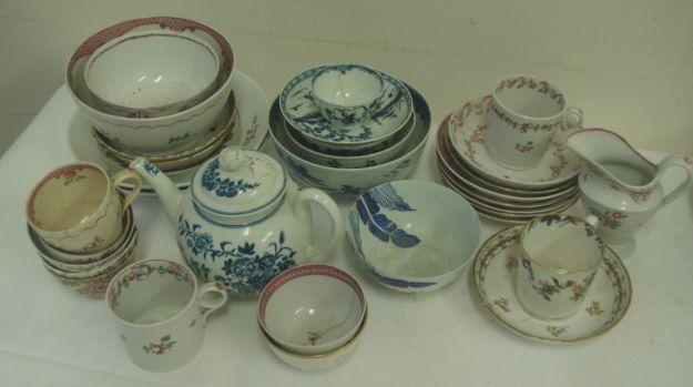 A collection of 18th Century Worcester porcelain to include, teapot and cover in the peony and Fiance pattern, a slops bowl in the Fisherman and Cormorant pattern, 15cm, a peony and Fiance pattern bowl, 10cm, a small tea bowl, saucer and bowl, all with faults, together with a small selection of English and European 18th/19th Century teacups, teabowl, saucers, Newhall plates, helmet shape milk jugs, etc.