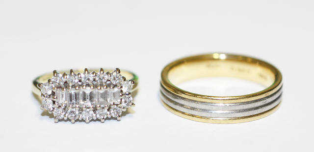 A diamond cluster ring and a band ring (2)