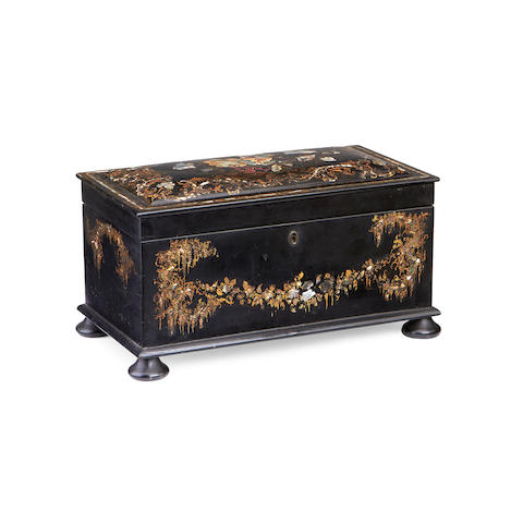 A Victorian mother of pearl, gilt and lacquered papier maché tea caddy