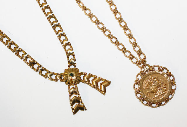 A sovereign pendant on fancy link chain and a 9ct gold crossover necklace,