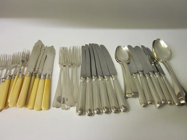 A composite canteen of Georgian silver Old English pattern flatware mixed makers,  London 1819, 1814, 1810, 1806  (Qty)