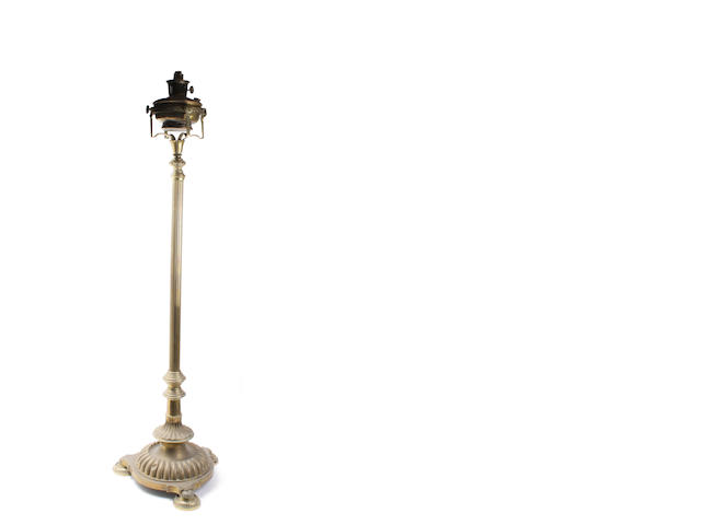 A late 19th century brass telescopic standard lamp