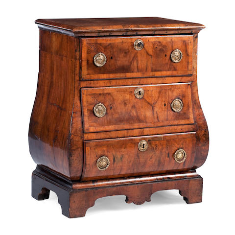 A small Dutch bombé walnut chest of drawers Probably second quarter 18th century