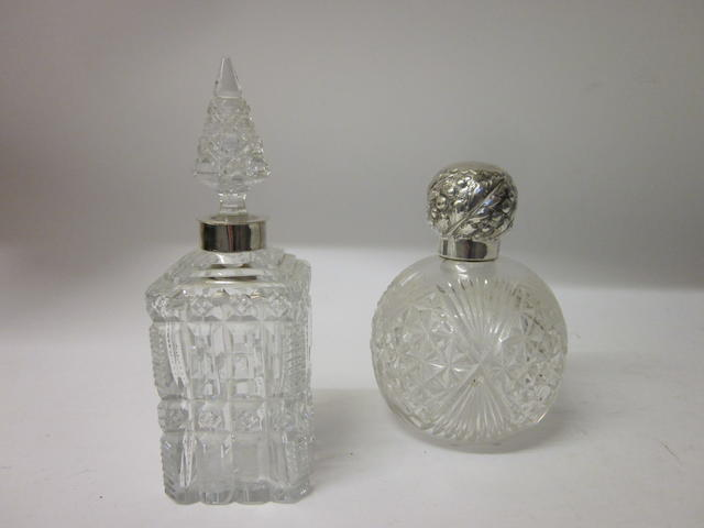A Victorian globular glass scent bottle,  London 1895,   (2)