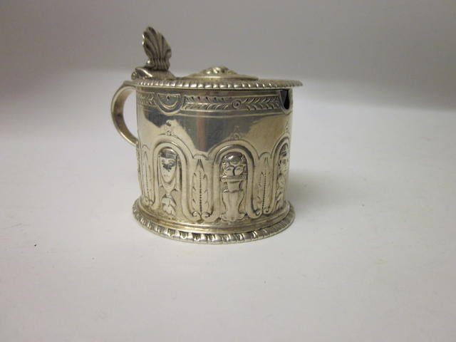 A George III drum shaped mustard pot, by Elizabeth Godfrey London 1762,