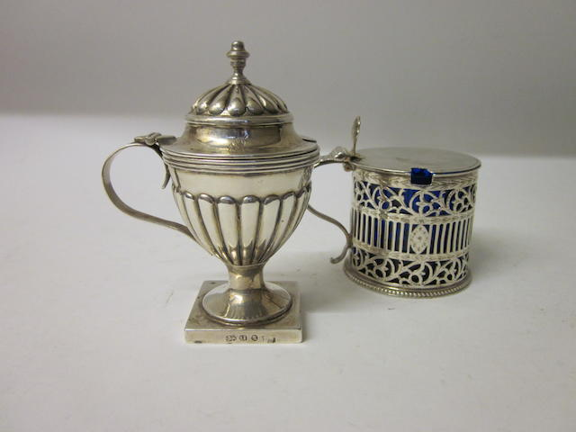 A George III drum shaped mustard pot by Burrage Davenport London 1780,  (2)
