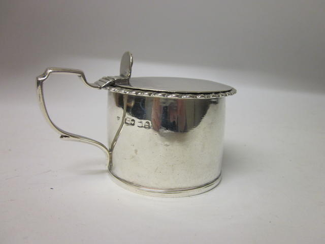 A George IV drum shaped mustard pot, maker Charles Cheese ? London 1827,