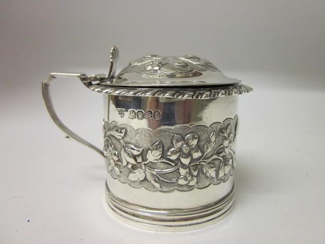 A Victorian silver drum shaped mustard pot By Lias Bros London 1837,