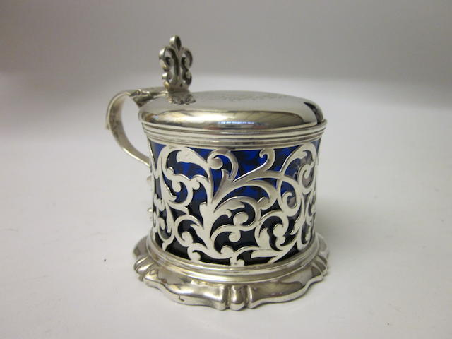 A Victorian drum shaped mustard pot By Charles and George Fox London 1843,