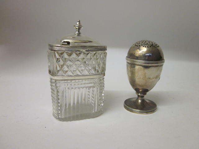 A George III mustard pot makers mark indistinct London 1812,  (2)