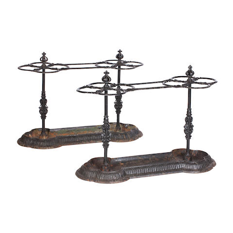 A pair of Victorian country house cast iron stick stands