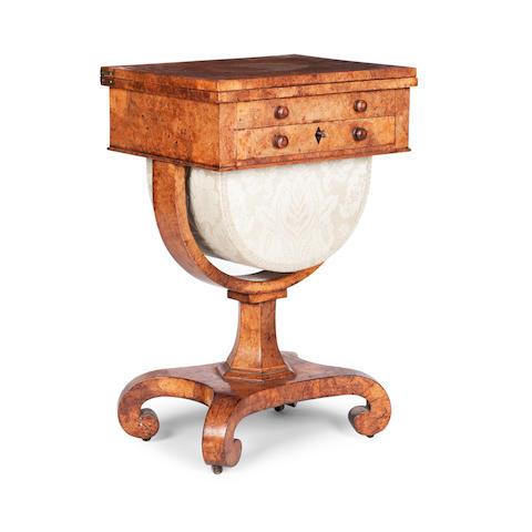 A Scottish George IV burr-oak games/work table