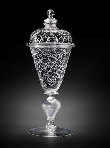 A Dutch diamond-point engraved goblet and a cover with calligraphy by Willem van Heemskerk, dated 1685